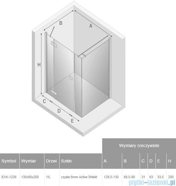 New Trendy Reflexa Plus 130x90x200 cm kabina prostokątna lewa przejrzyste EXK-1226