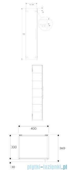 Koło Life! Szafka 40x170cm wisząca boczna wysoka biały połysk 88450