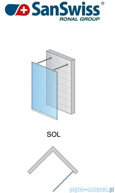 SanSwiss Pur Sol Ścianka stała 100-130cm profil chrom szkło Efekt lustrzany SOLSM11053