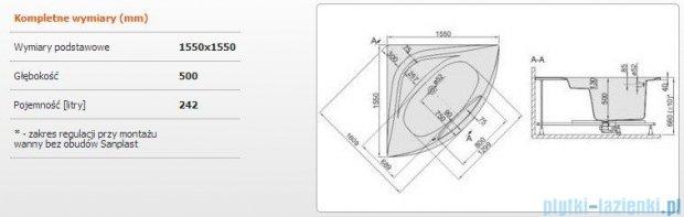 Sanplast Altus Wanna symetryczna+stelaż WS-ALT/EX 155x155+SP, 610-120-0960-01-000