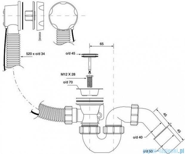 McAlpine syfon wannowy z korkiem automatycznym pokrywa złoty HC31-GOLD