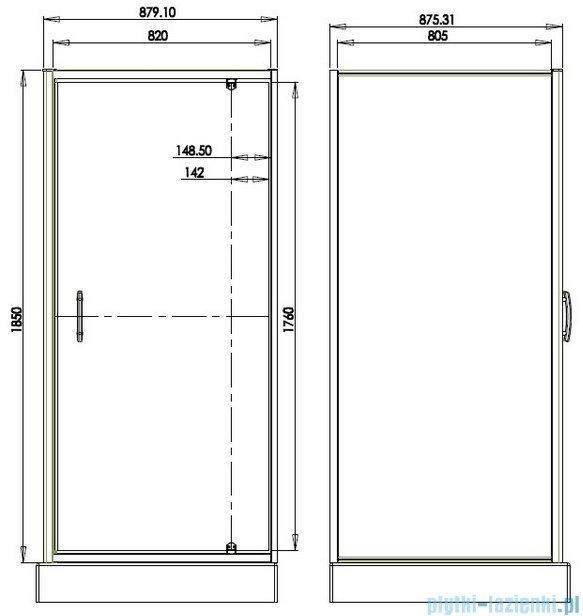 Omnires S Kabina kwadratowa 90x90x185cm szkło brązowe S-90KBR