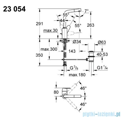 Grohe Eurodisc Cosmopolitan bateria umywalkowa DN 15 wysoka 23054002