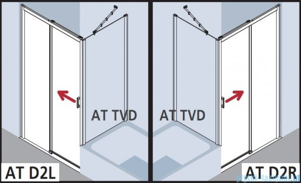 Kermi Atea Drzwi przesuwne bez progu, prawe, szkło przezroczyste KermiClean, profile białe 160x185 ATD2R160182PK