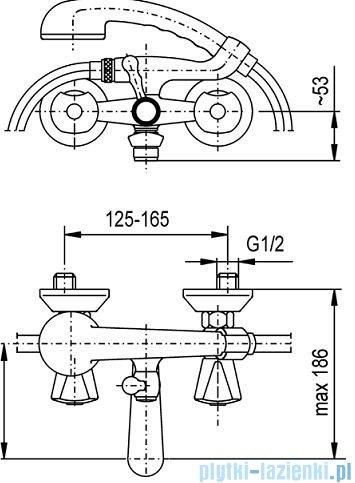 KFA CERAMIK Bateria wannowa ścienna chrom 334-115-00