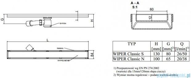 Wiper Odpływ liniowy Classic Sirocco 120cm bez kołnierza szlif S1200SCS100