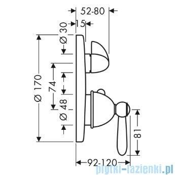 Hansgrohe Axor Carlton Bateria termostatowa podtynkowa z zaworem i uchwytem jednoramiennym 17720000