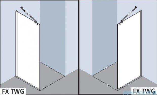 Kermi Filia Xp Ściana Walk-in Wall, stabilizator 45 stopni, szkło przezroczyste, profile srebrne 100x200cm FXTWG10020VAK
