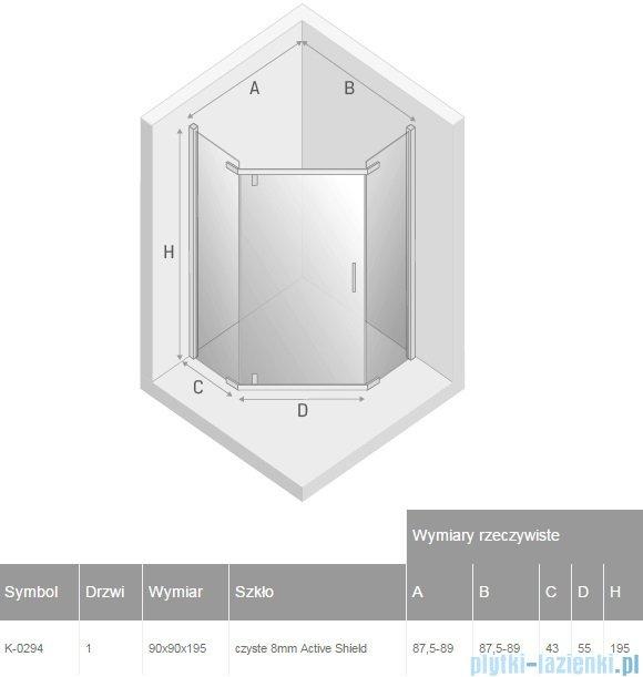 New Trendy New Komfort kabina pięciokątne 90x90x195cm przejrzyste K-0294