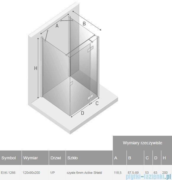 New Trendy Reflexa kabina 120x90x200cm trójścienna prawa przejrzyste EXK-1266