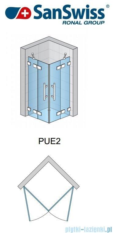 SanSwiss Pur PUE2 Wejście narożne 2-częściowe 75-120cm profil chrom szkło Efekt lustrzany Prawe PUE2DSM11053