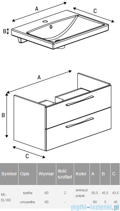 New Trendy Notti szafka umywalkowa 60 + umywalka antracyt połysk ML-EL160