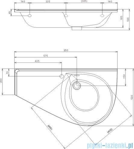Ravak Umywalka Avocado Comfort 95x53 cm prawa z otworami XJ9P1100000