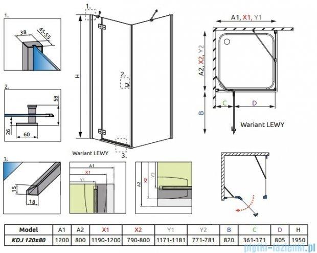 Radaway Kabina prysznicowa Almatea KDJ 120x80 lewa szkło przejrzyste + brodzik Doros D + syfon 32141-01-01NL