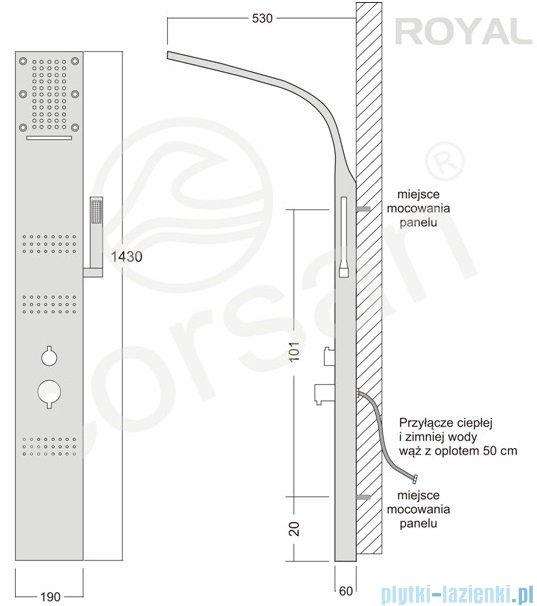 Corsan Royal Panel natryskowy z mieszaczem czarny A-013SCZARNY