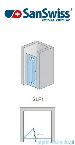 SanSwiss Swing Line F SLF1 Drzwi dwucześciowe 75cm profil biały Lewe SLF1G07500407