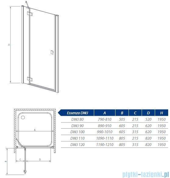 Radaway Essenza DWJ Drzwi wnękowe 80 lewe szkło przejrzyste 32712-01-01NL