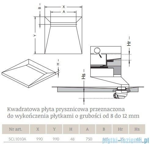 Radaway kwadratowy brodzik podpłytkowy z odpływem liniowym Basic 99x99cm 5CL1010A,5R075B,5SL1