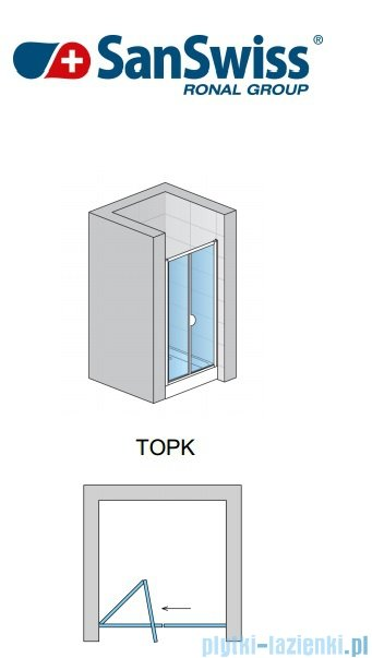 SanSwiss Top-Line Drzwi 2-częściowe 80-100cm profil biały TOPKSM20407