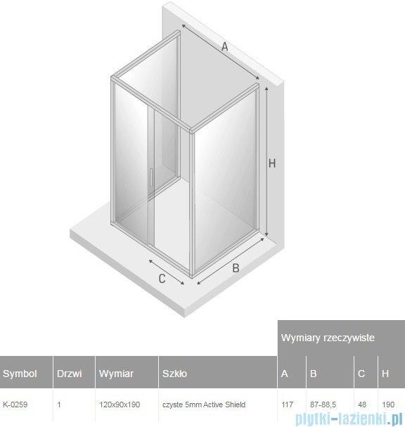 New Trendy Varia kabina prysznicowa trójścienna 90x120x90x190 cm przejrzyste K-0259