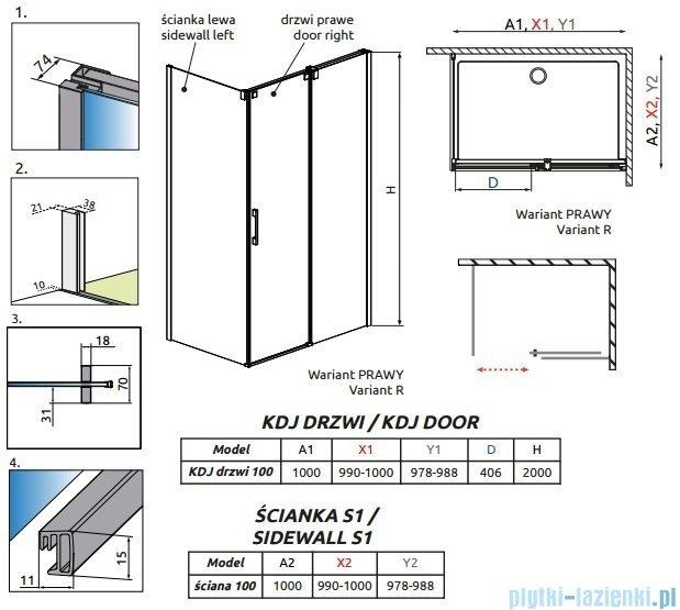 Radaway Espera KDJ kabina prysznicowa 100x100 prawa szkło przejrzyste 380130-01R/380140-01L