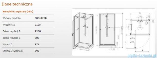 Sanplast Kabina czterościenna kompletna kpl-KCDJ/CLII-80x120 80x120x210 cm przejrzysta 602-011-0240-01-4B1