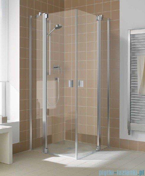 Kermi Raya Wejście narożne, 1 połowa, lewa, szkło przezroczyste z KermiClean, profile srebrne 100x200 RAEPL10020VPK