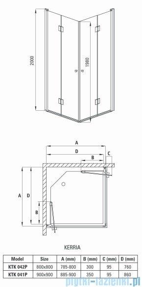Deante Kerria kabina kwadratowa 90x90x200 cm przejrzyste KTK 041P