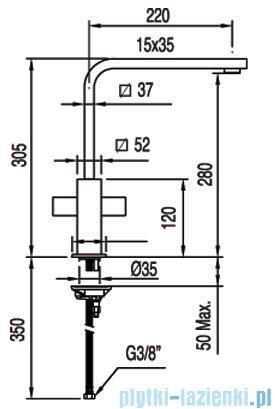 Tres Cuadro-Tres Bateria zlewozmywakowa wylewka 35x15 mm 1.08.496