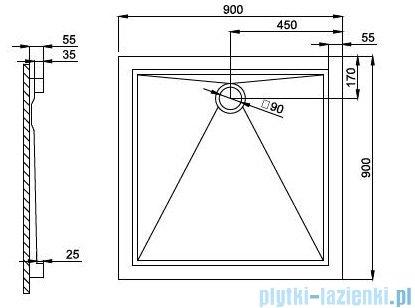 Atrium Arco brodzik kwadratowy 90x90 cm QA2-90