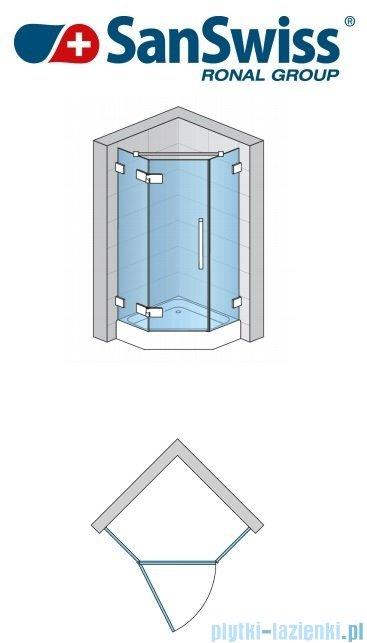 SanSwiss Pur PUR51 Drzwi 1-częściowe do kabiny 5-kątnej 45-100cm profil chrom szkło Krople Lewe PUR51GSM11044