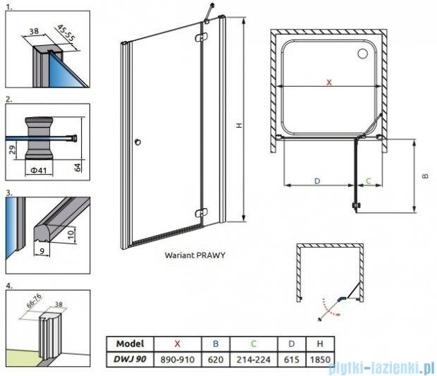 Radaway Torrenta DWJ drzwi wnękowe 90 prawe szkło carre 32000-01-10N