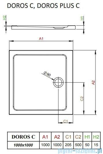 Radaway Doros Plus C Brodzik kwadratowy 100x100x5cm SDRPC1010-01