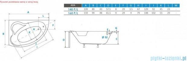 Piramida Ada 160x100cm Wanna asymetryczna Prawa