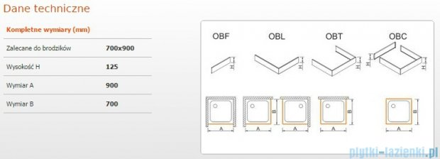 Sanplast Obudowa brodzika OBL 70x90x12,5 cm 625-401-1120-01-000