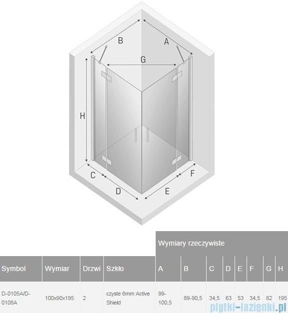 New Trendy New Renoma kabina prostokątna 100x90x195 cm przejrzyste D-0105A/D-0108A