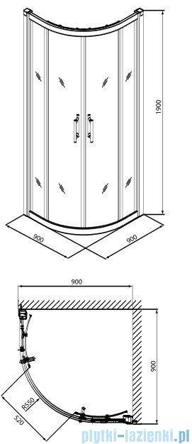 Koło Geo 6 Kabina 90cm półokrągła część 1/2 GKPG90205003A