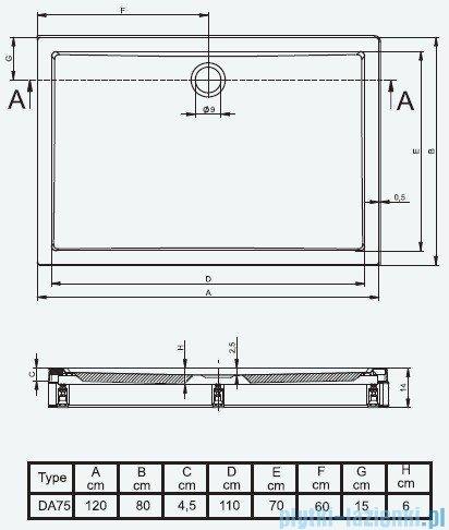 Riho Brodzik prostokątny płaski 275 120x80x14 DA75 + nóżki + panel