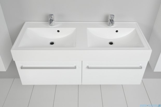 Antado Variete szafka z umywalką, wisząca 120 biały połysk FM-442/6GT + FM-442/6GT + UNAM-1204D