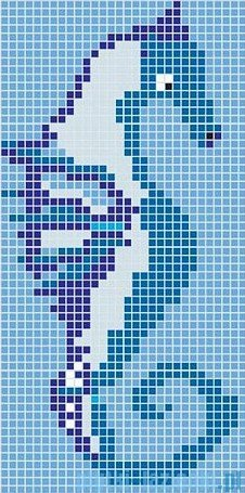Dunin Q design mozaika szklana wzór 65x131 sea horse