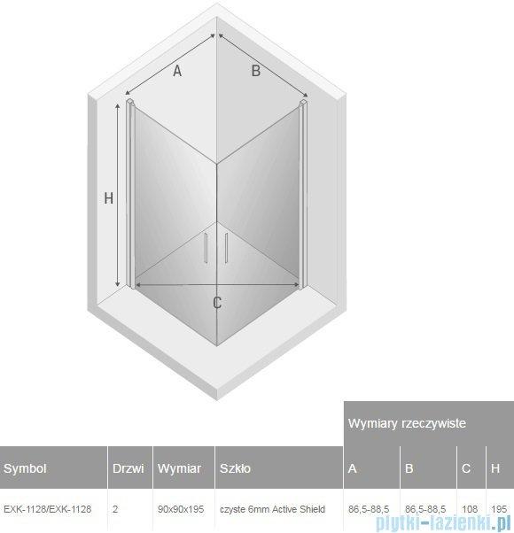 New Trendy Negra kabina prysznicowa dwudrzwiowa 90x90cm przejrzyste EXK-1128/EXK-1128