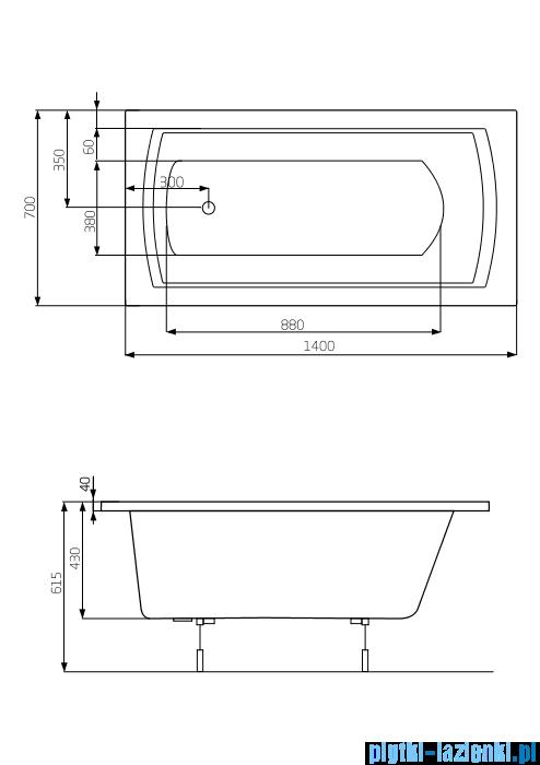 Roca Linea wanna 140x70cm z hydromasażem Smart Water Plus A24T005000
