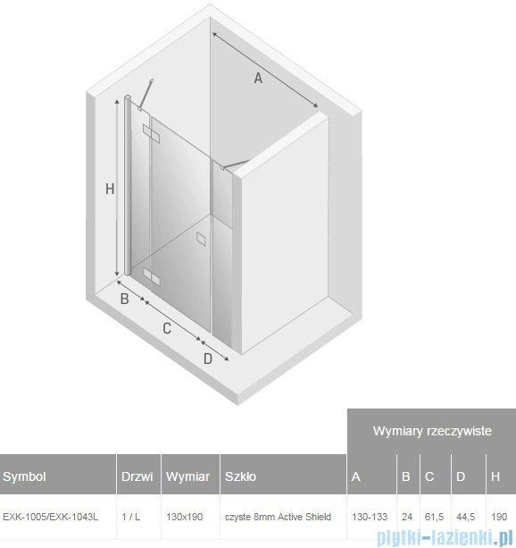 New Trendy Modena Plus drzwi prysznicowe 130cm lewe szkło przejrzyste EXK-1005/EXK-1043L
