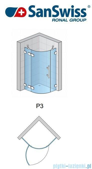 SanSwiss Pur P3 Kabina półokrągła 75-120cm profil chrom szkło przezroczyste Lewe P3G55SM11007