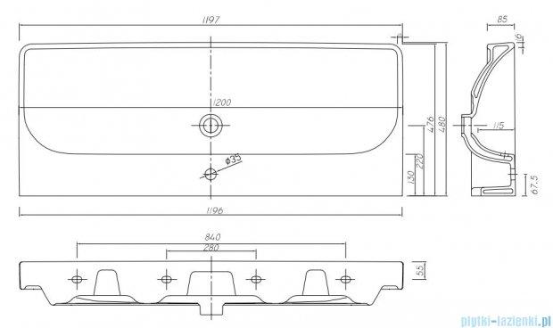 Koło Traffic umywalka meblowa 120cm z otworem i przelewem L91120