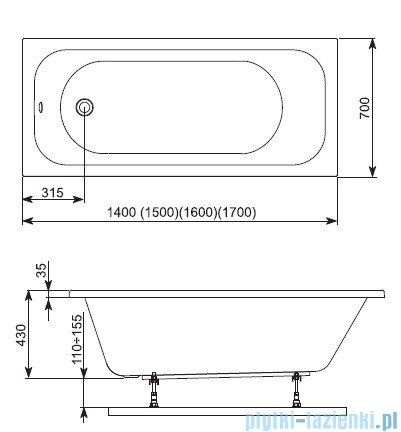 Aquaform Filon wanna prostokątna 170x70cm 243-05245P