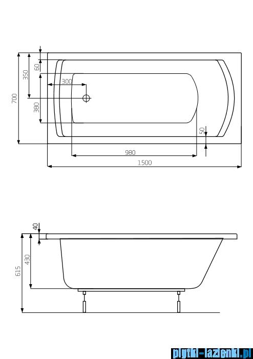 Roca Linea wanna 150x70cm z hydromasażem Effects Gold Opcja A24T016000