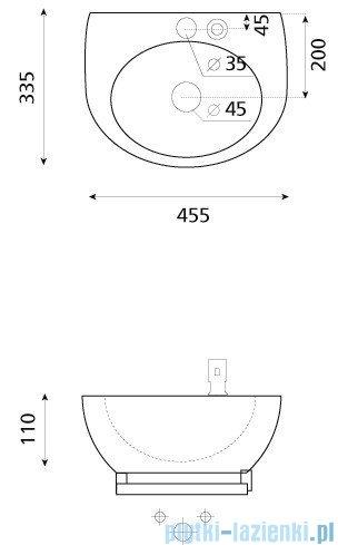 Bathco Alhambra/D umywalka podwieszana z dozownikiem i relingiem  45,5x33,5cm 4910/D