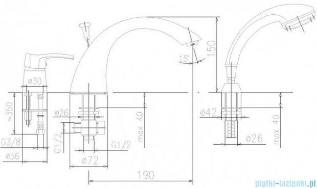 KFA Kwarc bateria wannowa 3-otworowa, kolor chrom 4205-210-00