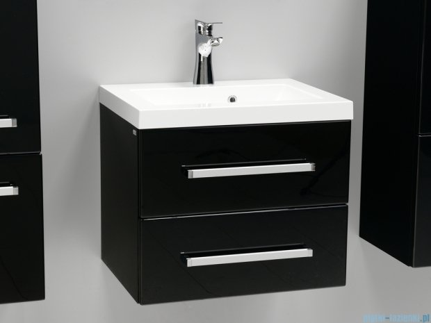 Antado Variete szafka z umywalką, wisząca z dwiema szufladami 50x39x40 czarny połysk FM-C-442/5/2GT-9017 + UMMC-500X390
